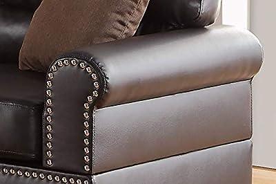Poundex F7878 Bobkona Shelton Bonded Leather 2 Piece Sofa and Loveseat Set, Espresso