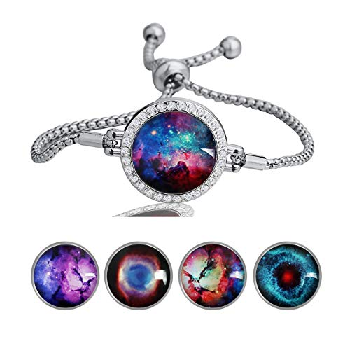 - MaXing Custom Image Adjustable Snap Charm Slider Crystal Bracelet 18mm Snaps Noosa Glass Button (Generoc Galaxy Space Universe)