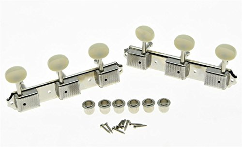 KAISH Nickel w/ Aged White 3 per side 3x3 on a Plate Vintage Guitar Tuning Keys Tuners Korea Made