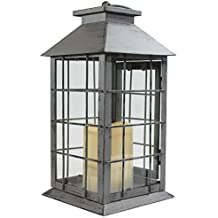 Seraphic Gray Rustic Metal Lantern with Flickering Flameless LED Candle