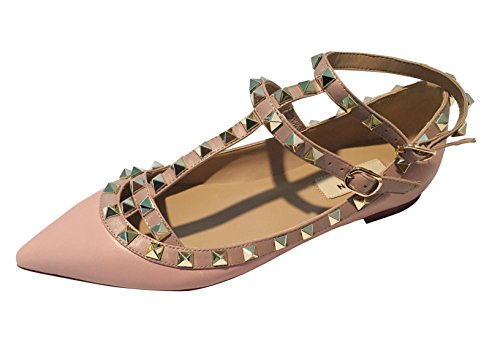 Kaitlyn Pan Pointed Toe Studded Strappy Caged Ballerina Leather Flats (37.5 CN/7 US/37 EU, Pastel Pink Matte/Nude Trim/Gold Studs) Pastel Ballet Shoes