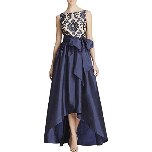 Embroidered Taffeta Evening Gown - Adrianna Papell Women's High Low Taffeta Ball Gown with Embroidered Lace Bodice, Navy/Nude, 10