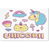 Large Wall Mural Sticker [ Unicorn Cat,Collection Fantastic Icons Magic Horse Kitten Cupcake Rainbow Decorative,Sky Blue Pink Light Yellow ] Self-adhesive Vinyl Wallpaper / Removable Modern Decorating