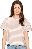 J.O.A. Women's Back Ruffle Short Sleeve Tee Rose Stripe Small