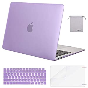 MOSISO MacBook Air 13 Inch Case 2018 Release A1932 with Retina Display, Plastic Hard Shell & Keyboard Cover & Screen Protector & Storage Bag Only Compatible Newest MacBook Air 13, Light Purple