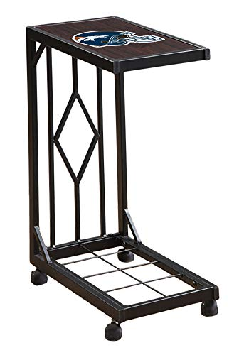 - The Furniture Cove Slide Under Laptop/TV Tray with Wheels in a Black Metal Finish Featuring the Choice of Your Favorite Football Team Logo! FREE Drink Coaster Included (Broncos Helmet)