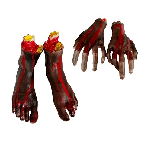 Fake Zombie Bloody Arm with Foot Body Parts Pack of a Set by (Bloody Foot Hanging Prop)