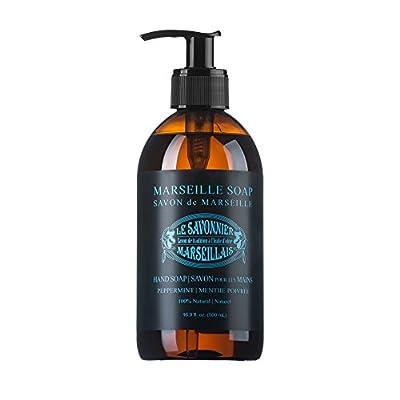 LSM Soaps Le Savonnier Marseillais Liquid Hand Soap, Peppermint, 16.9 Fluid Ounce
