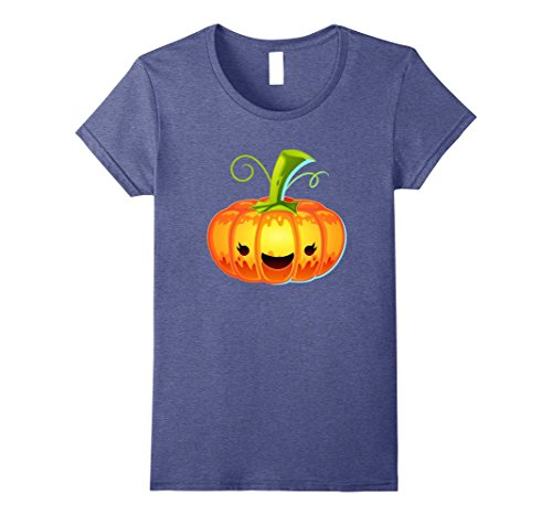 Womens Smiling Pumpkin - Halloween Gift Idea Costume 2017 T-Shirt Small Heather Blue (Creative Female Halloween Costume Ideas 2017)