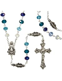 Catholic Marian Blue Rosary 6mmx8mm crystal beads in jewelry box- Multi toned blue beads Virgin Mary figurine mysteries rosary