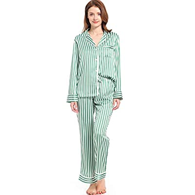 Serenedelicacy Women's Silky Satin Pajamas Striped Long Sleeve PJ Set Sleepwear Loungewear at Women's Clothing store