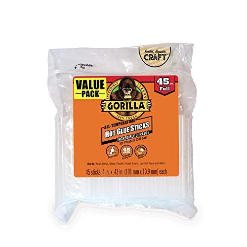 "Gorilla Hot Glue Sticks, Full Size, 4"" Long x .43"" Diameter, 45 Count, Clear, (Pack of 1)"