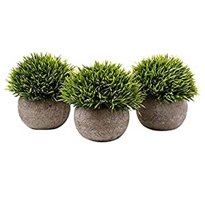 JHFUH Set of 3 Artificial Green Grass Bonsai Art Plant with Gray Pot Longevity Artificial Potted Plants Suitable for Bookshelf Desks Window Sills 52