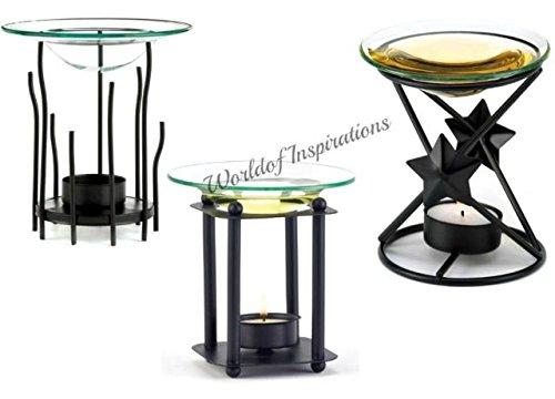 3 Black Contemporary Tea Light Oil Warmer Fragrance Scented Burner Candle (Contemporary Fragrance)