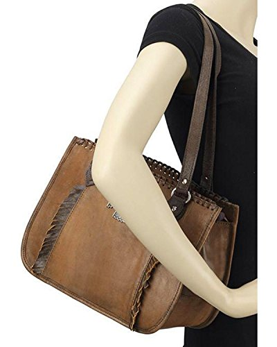American West Women's Thunderbird Ridge Multi-Compartment Zip Top Tote Distressed Brown One Size by American West (Image #3)