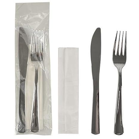 50 cubertería Sets, metalizado 23,5 cm x 5 cm Plata: Cuchillo, Tenedor, servilletas, 1 x 50 unidades: Amazon.es: Hogar