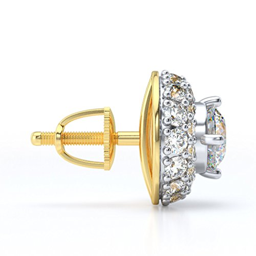 14 K Or jaune 1.44 CT TW White-diamond (IJ | SI) Boucles d'oreilles créoles