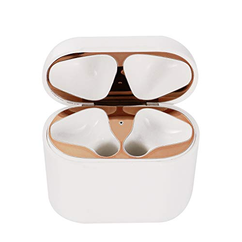 Dust Guard for AirPods Case,Solomo Shiny Stylish [0.04mm][Full Coverage][18K Gold Plating] Premium Metallic Protective Dust Guard Cover Easy Install for Apple Airpods Charging Case (Rose Gold - 1 Set) ()
