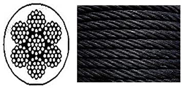 Black Powder Coated Galvanized Wire Rope Cable 1//8 100 ft 7x19