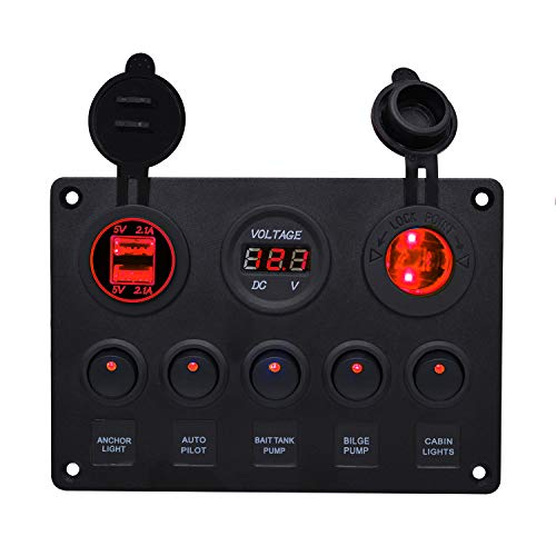 WUPP Marine Boat Rocker Switch Panel 5 6 8 Gang Waterproof ON OFF Toggle Switches with Digital Voltage Display 3.1A Double USB Power Charger Adapter 12V Cigarette Lighter Socket for Car Truck Jeep ()