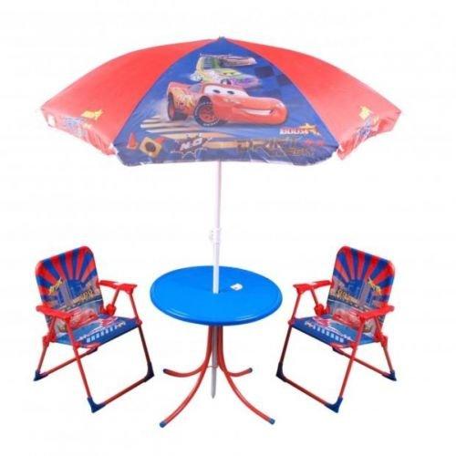 modele cars ensemble de salon de jardin pour enfant avec table chaises et parasol jaune - Table Et Chaise De Jardin Pour Enfant