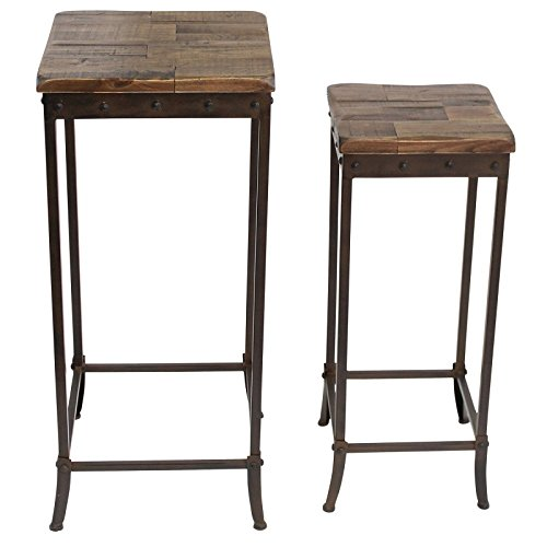 MyChicHome Sierra, Solid Wood and Iron, Rustic, Square, 2pc, Stackable, Nesting, Accent/Side/End Table in Distressed Pine (Square Tables Nesting Iron)