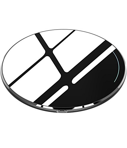 TOZO for iPhone X Wireless Charger, [Ultra Thin] Aviation Aluminum [Sleep-friendly] Wireless Fast Charging Pad for iPhone X / 10 / 8 / 8 Plus, Samsung Galaxy S8, S8+, Note 8 [Black] - NO AC Adapter