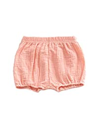 minansostey Summer Baby Girls Boy Bloomer Shorts Infant Solid Color Cotton Loose Harem Pants