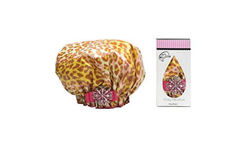 Dry Divas Designer Shower Cap For Women - Washable, Reusable - Large Bouffant Cap With Vintage Jeweled Brooch (Dash'n Diva) by Dry Divas
