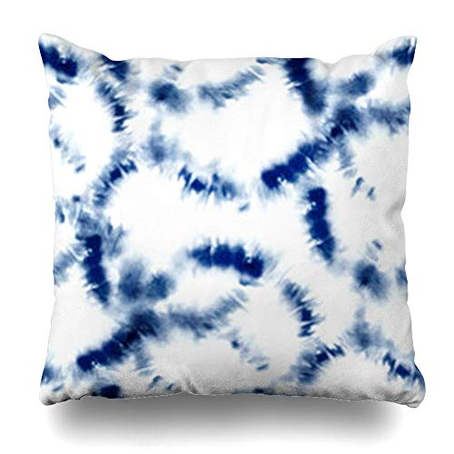 Tobesonne Throw Pillow Covers Folk Navy Abstract Indigo Blue Tie Dye Shibori Pattern Ink Modern Batik Watercolor Endless Home Decor Pillowcases Square 20 x 20 Inches Zippered Cushion Cases ()
