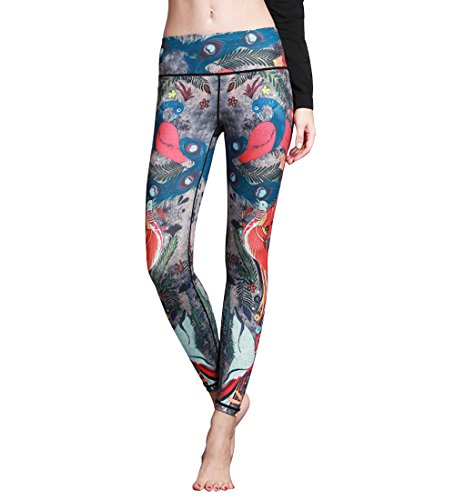 Belovecol High Waist Workout Leggings for Juniors Girls Peacock Printed Active Yoga Pants 4