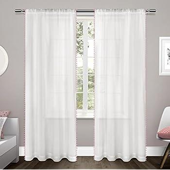 Amazon Com Lush Decor Pom Pom Window Curtain Panel 84 X