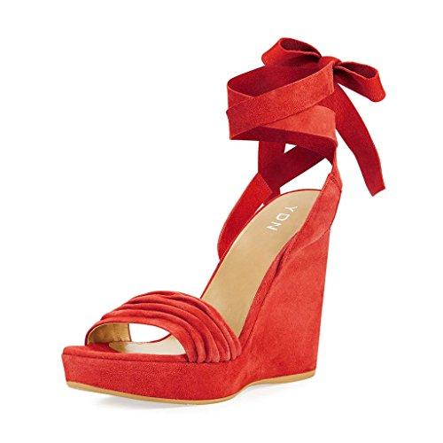 Les Femmes Ydn Lacent Chaussures Plate-forme De Bout Ouvert Sandales Compensées À Talons Hauts Pour Le Rouge De Bal Du Parti