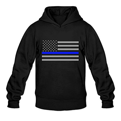 P-Jack Men's Thin Blue Line American Flag Training Half Dome Hoodie SizeS ColorBlack