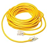12/3 75ft 125V SJTW Extension Cord LED Lighted End Prong for Indoor + Outdoor use (75 Feet)