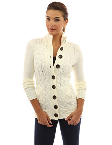 Button Mock Sweater - PattyBoutik Women's Mock Neck Cable Knit Cardigan (Ivory S)