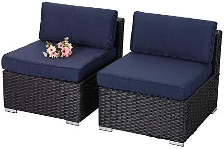 PHI VILLA Outdoor Sectional Furniture 2 Piece Patio Sofa Set Low-Back Rattan Wicker Additional Seat