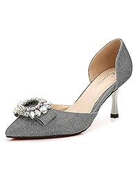 CYBLING Women's Kitten Heel Pumps Ladies Pointed Toe D'Orsay Glitter Embellished Stiletto Dress Shoes