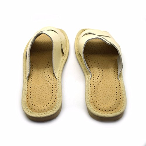 Leather Sizes Ladies Slip Beige Womens Eco Slippers Mules On All Sandals Shoes Ex68q78Bw