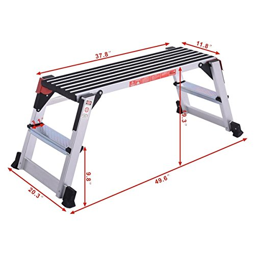Giantex Aluminum Platform Non-Slip Folding Work Bench Drywall Stool Ladder 330lbs Capacity by Giantex (Image #1)