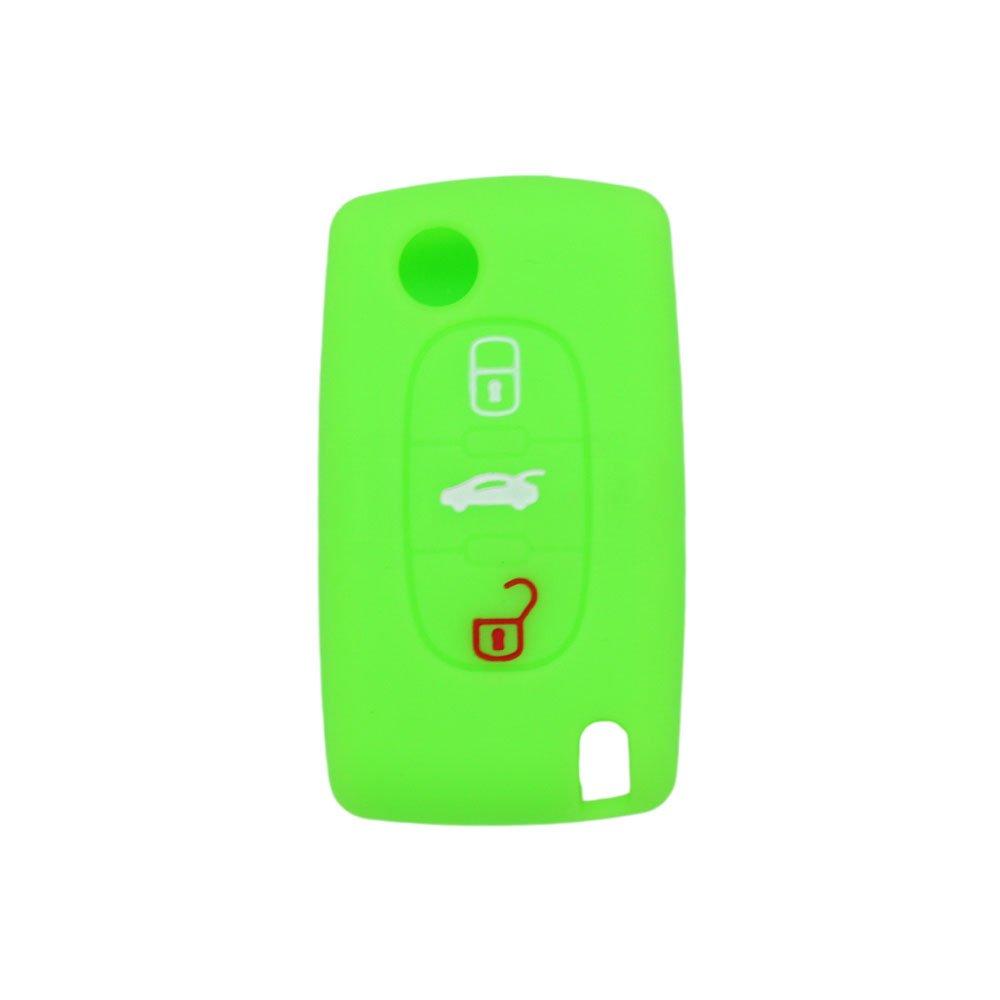 SEGADEN Silicone Cover Protector Case Skin Jacket fit for PEUGEOT CITROEN 3 Button Flip Remote Key Fob CV9301 Rose
