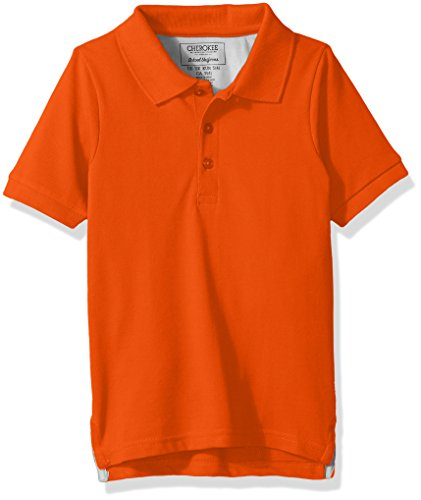 Cherokee Big Boys' Uniform Short Sleeve Pique Polos, Orange, M(10/12) by Cherokee