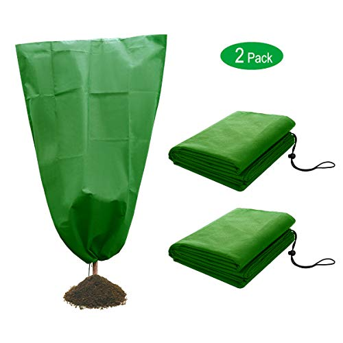 2 Pack Plant Covers Freeze Protection 47″W x 71″H Warm Worth Frost Protection Bags Blanket Upgraded Thickness Reusable Shrubs & Trees Jacket Covers for Winter Cold Weather, 60gsm, Green