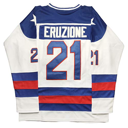 Micjersey Mike Eruzione Jersey, Eruzione #21 1980 Miracle USA Ice Hockey Jerseys (White, S)