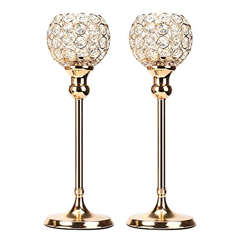 Anferstore Gold Crystal Candle Holders, Modern Romantic Wedding Candle Holders for Dining Table Decorations,Valentine's Day,House Gifts,Set of 2 ()