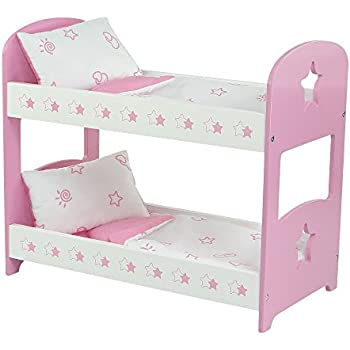 18 Inch Doll Furniture | Pink Bunk Bed With Star Theme Includes Bedding |  Fits