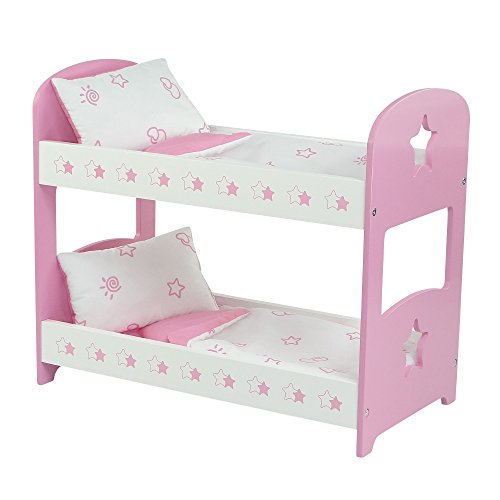 Emily Rose Doll Clothes 18 Inch Doll Furniture | Lovely Pink and White Bunk Bed, Includes Plush Reversible Bedding | Fits 18