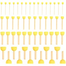 Pack of 50 Round Foam Sponge Paint Brush Set - Stencil Brush Value Pack - 4 Different Sizes - Great for Kids Arts and Crafts, Stencils, Painting