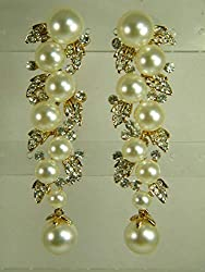 Yellow Gold Overlay Pearls Crystals Drop Earrings