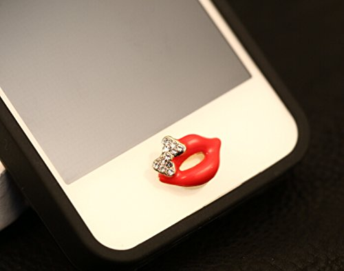 Super Cute Crystal Bow Sexy Red Lip Cellphone Accessories Universal Home Return Button Sticker for Apple iPhone 6 Plus,iPhone 6,iphone 5,5s,5c,4s,4,iPad Air 2,3,4,iPod Touch